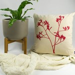 Cushion cover with Kangaroo Paw print in red. 50cm square.