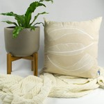 Cushion cover with Three Feather print in white. 50cm square.