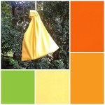 Small cotton drawstring bag, orange lemon green for toys, gifts, games