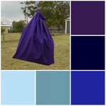 Large cotton drawstring bag, blue purple for toys, library, kindergarten