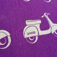 Satchel bag in purple scooter Enchino cotton fabric. Extendable shoulder strap.