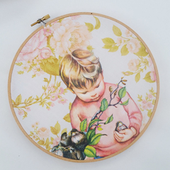 Embroidery Hoop Wall Art - upcled Vintage Floral Retro little golden book art
