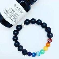 Unisex Aroma Diffuser Bracelet- Rainbow Chakra. Sml, Med, Lge, XL.