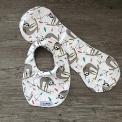 Bib & Burp Cloth Gift Set - Sloths  - Baby Girl - Boy - Unisex