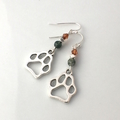 Unique Doggie Paws Earrings with gemstones, Silver-Plated Hooks.