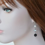 Sterling Silver Freshwater Pearl with Moonstone and Onyx drop Earrings