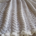 Crochet baby blanket, baby shower gift, white, wedding, baptism, christening