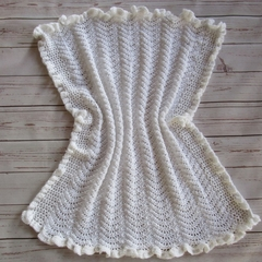 Crochet baby blanket, baby shower gift, white, wedding, baptism, christening