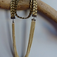 Black and gold chain and braid necklace