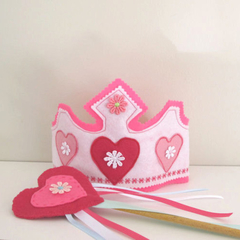 Pink and White Birthday Hat and Fairy Wand Felt Princess Crown Girls Gift