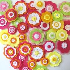Bright Felt Flowers Wall Decorations, Girls Bedroom Decor