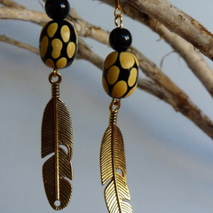 Buttercup yellow, black and gold drop earrings