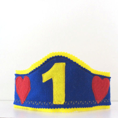 First Birthday Boys Hat, First Birthday Crown, Felt boys Crown, Boy Birthday hat