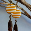 Yellow and gold leaf earrings