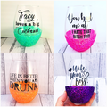 Personalised glitter stemless wine glass, funny quote & name