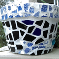Mosaic Garden Pot - Squat pot series 4 - Black Willow