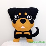 Rottweiler Plush / Rottweile Softie / Dog Softie / Dog Toy / 100% Wool Felt Toy