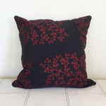 Hand screen printed 'fagus' cushion with duck feather insert - red on charcoal