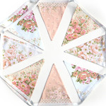 Vintage Bunting PEACH / Pink & Lace Floral Flags. Shabby Chic Party Decor