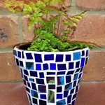 Mosaic Flower Pot - Small Pot 1 - Blue Glass