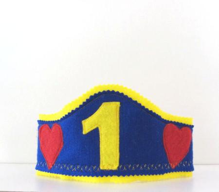 First Birthday Boys Hat, First Birthday Crown, Felt boys Crown, Boy Birthday hat