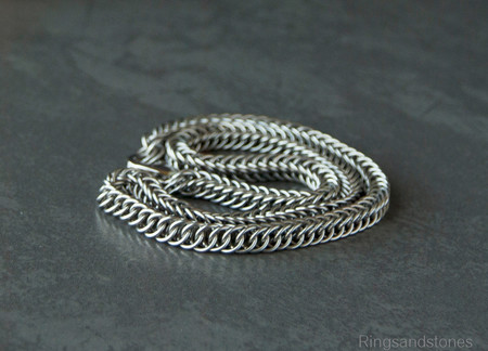 Man's necklace. Stainless steel chainmaille necklace. Gift for him.