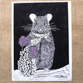 Australian Native Rat linocut / Stick-nest rat Lino Cut / Australian Wildlife