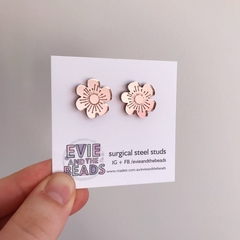 Rose Gold Mirror Acrylic Earrings Floral Statment Studs