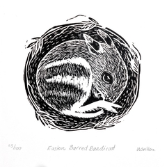 Eastern Barred Bandicoot Linocut Print / Lino Cut / Australian Wildlife