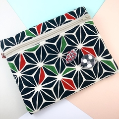 Handmade Kimono fabric makeup bag or pencil case with polymer clay brooch pin