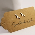 Copper Seagull Studs, Natural Copper