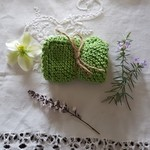Hand knitted 100% Cotton face washer - Lime green
