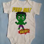 Baby Bodysuit, Infant Romper, Hulk Fan Art, Super Hero Baby, Hungry Baby, Funny
