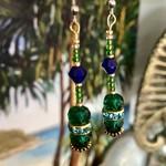 Green & Dark Blue Crystal cut glass & Swarovski crystal dangle drop earrings