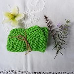Hand knitted 100% Cotton face washer - Bright green