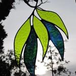 Gumleaf Cluster green / blue green Leadlight Light catcher /  Suncatcher