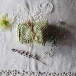 Hand knitted 100% Cotton face washer - Mottled green