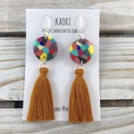 Tassel earrings, polymer clay earrings in rainbow spots, sterling silver hooks