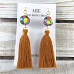 Tassel earrings, polymer clay earrings in rainbow multicolour, gold plated hooks