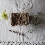 Hand knitted 100% Cotton face washer- Light olive green