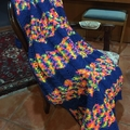 HANDMADE CROCHET BLANKET MULTICOLOUR with blue stripes