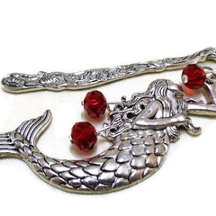 Metal Dolphin and  Mermaid Bookmark with Red Crystal Beads