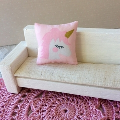 Minature Unicorn  throw pillow , dollhouse cushion 1/12 scale scatter pillow.
