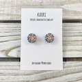 Handcrafted polymer clay stud earrings in rainbow spots