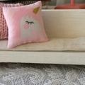 Minature Unicorn  throw pillow , dollhouse cushion 1/12 scale scatter pillow.
