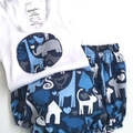"Sizes 1 to 3 months,  6  and 12 Months ""Animal World"" Nappy Pants & App/Singlet"