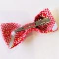 Bow hair clip - REDish PINK -KIMONO / Japanese crape /
