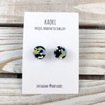 Handcrafted polymer clay stud earrings in blue,  yellow and black