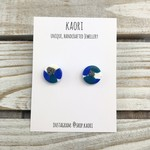 Handcrafted polymer clay stud earrings in blue teal, aqua and white