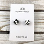 Handcrafted polymer clay stud earrings in monochrome black and white